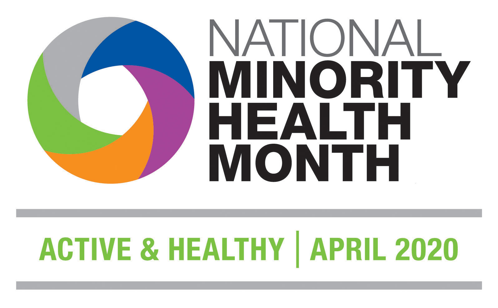 National Minority Health Month logo - Active & Healthy | April 2020